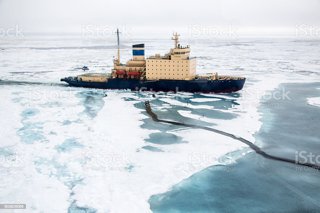 Areal shot of Ice breaker heading in NE Passage stock photo