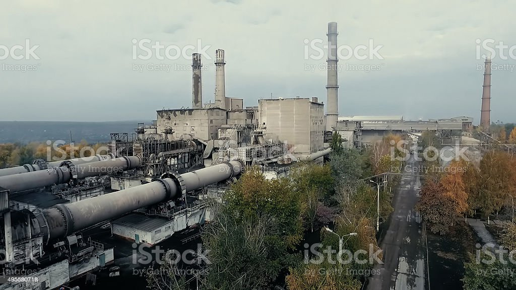 Areal view at old plant in industrial area stock photo