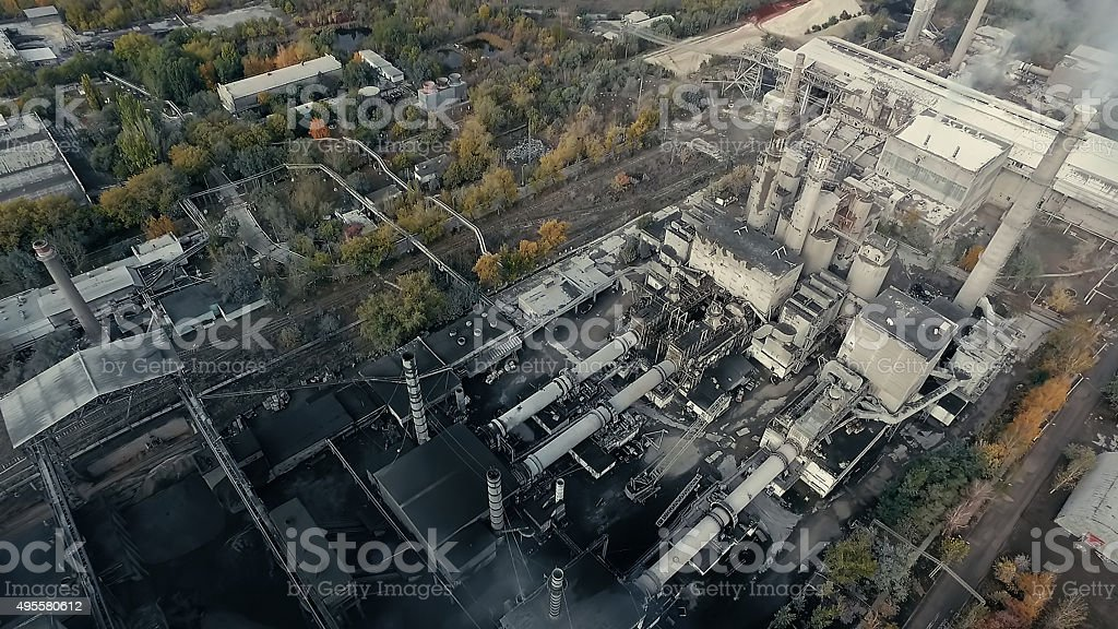 Areal view of old plant in industrial area stock photo