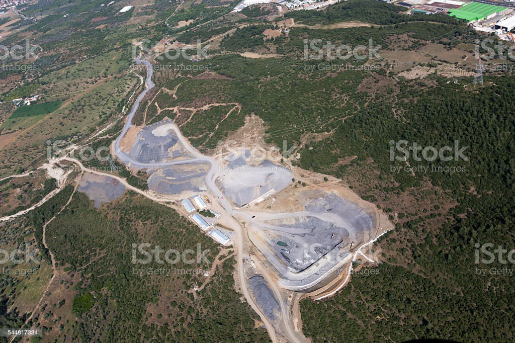Areal view of plant in industrial area stock photo