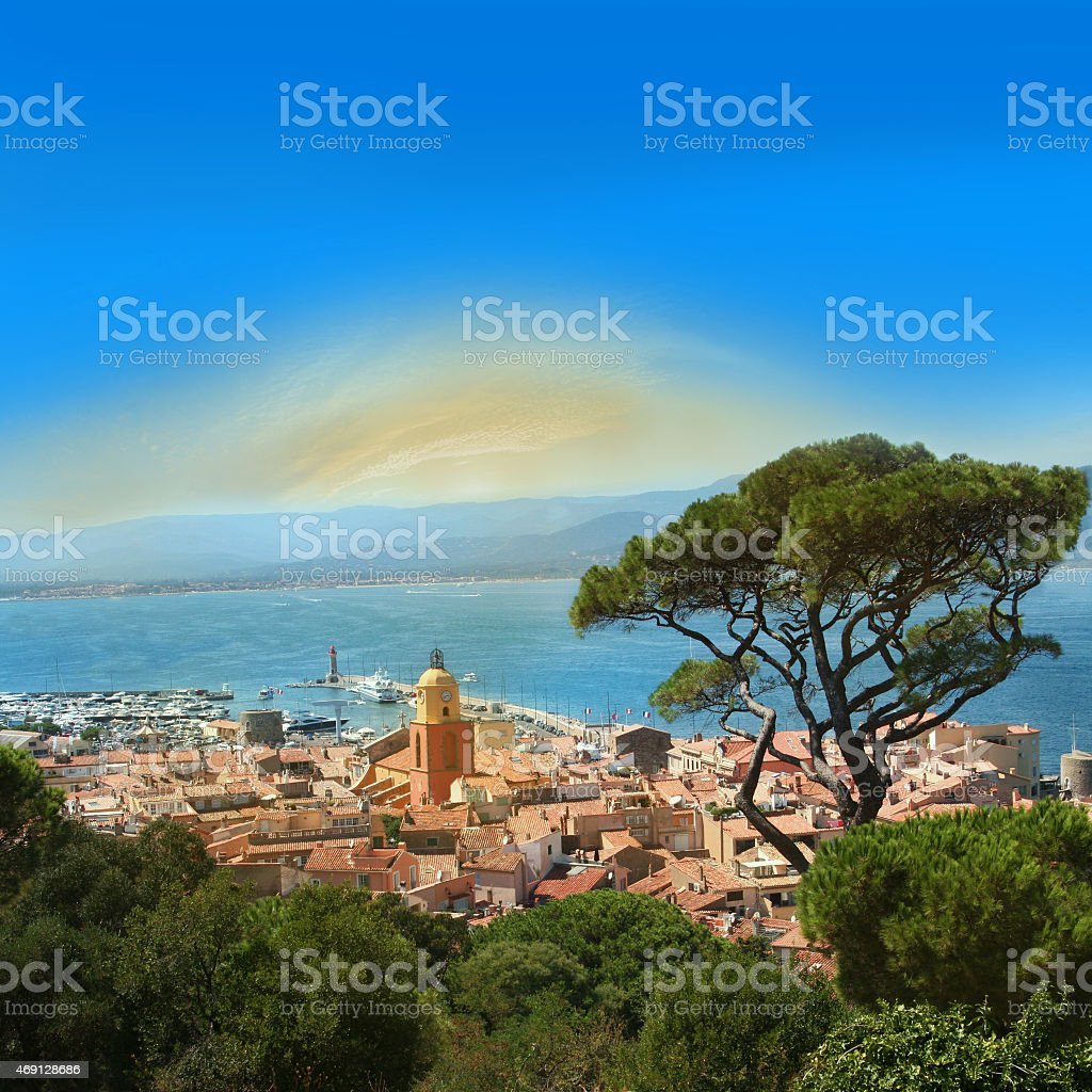 Areal view of St. Tropez, France stock photo