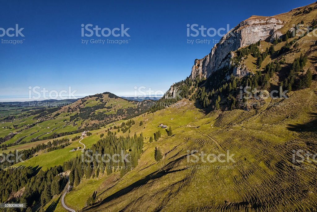 areal view over Appenzeller landscape in Switzerland stock photo