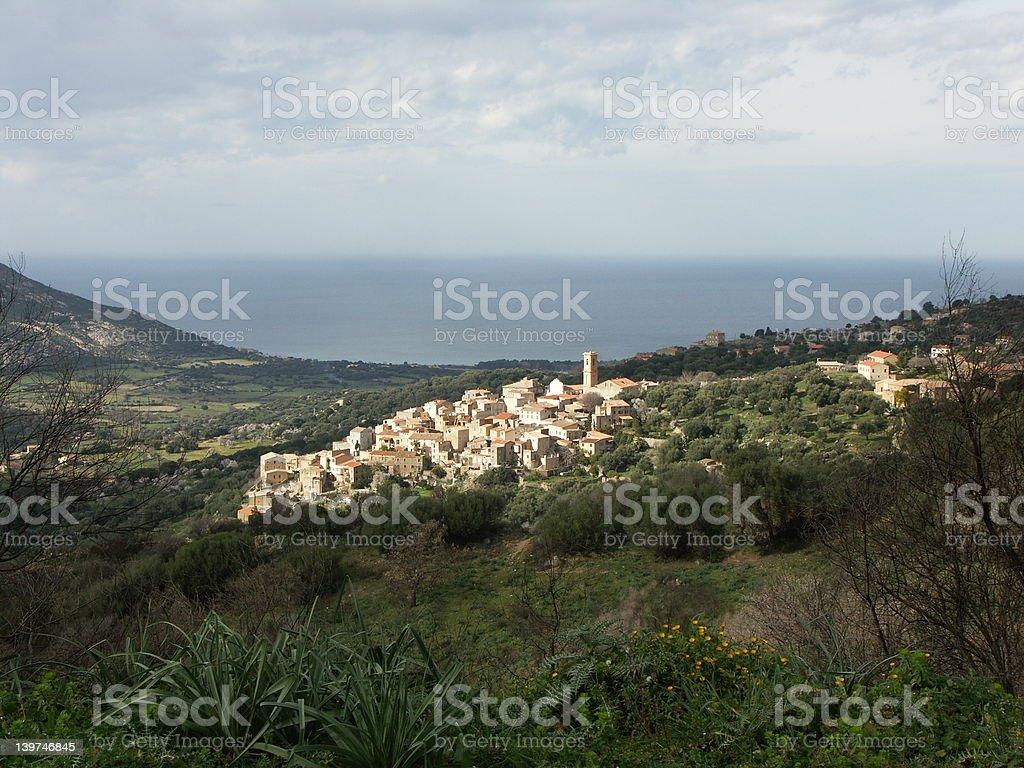 Aregno village in Balagne region (Corsica) royalty-free stock photo