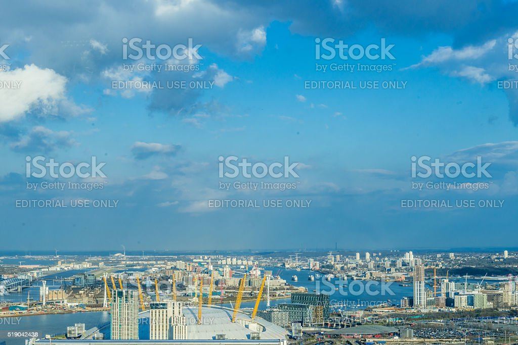 O2 Arena and Thames barriers stock photo