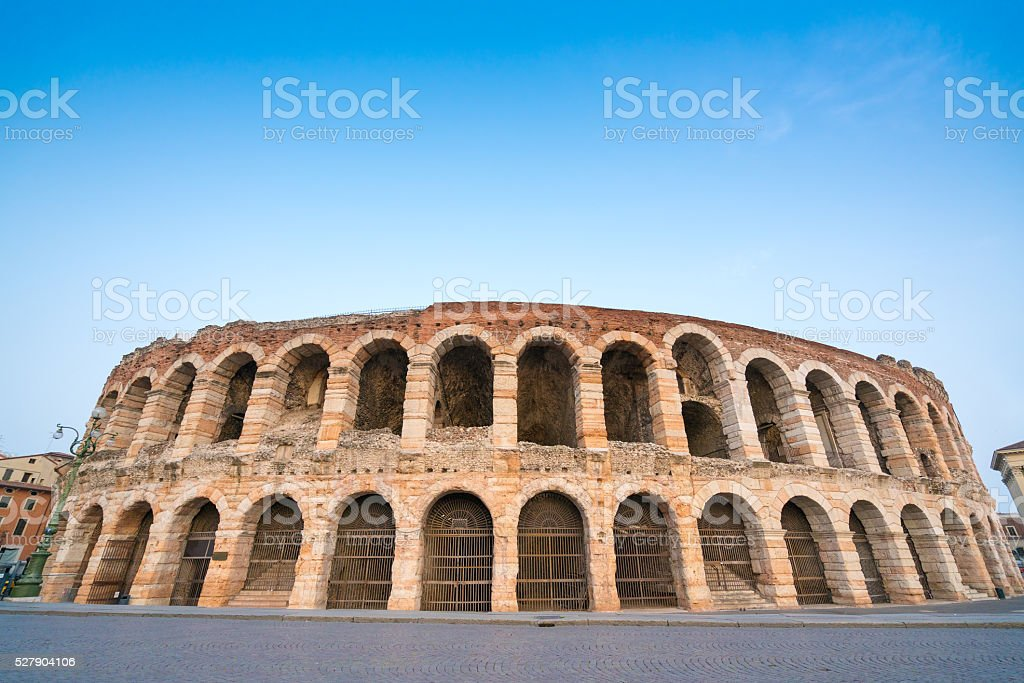 Arena di Verona amphitheatre in the evening, Italy stock photo