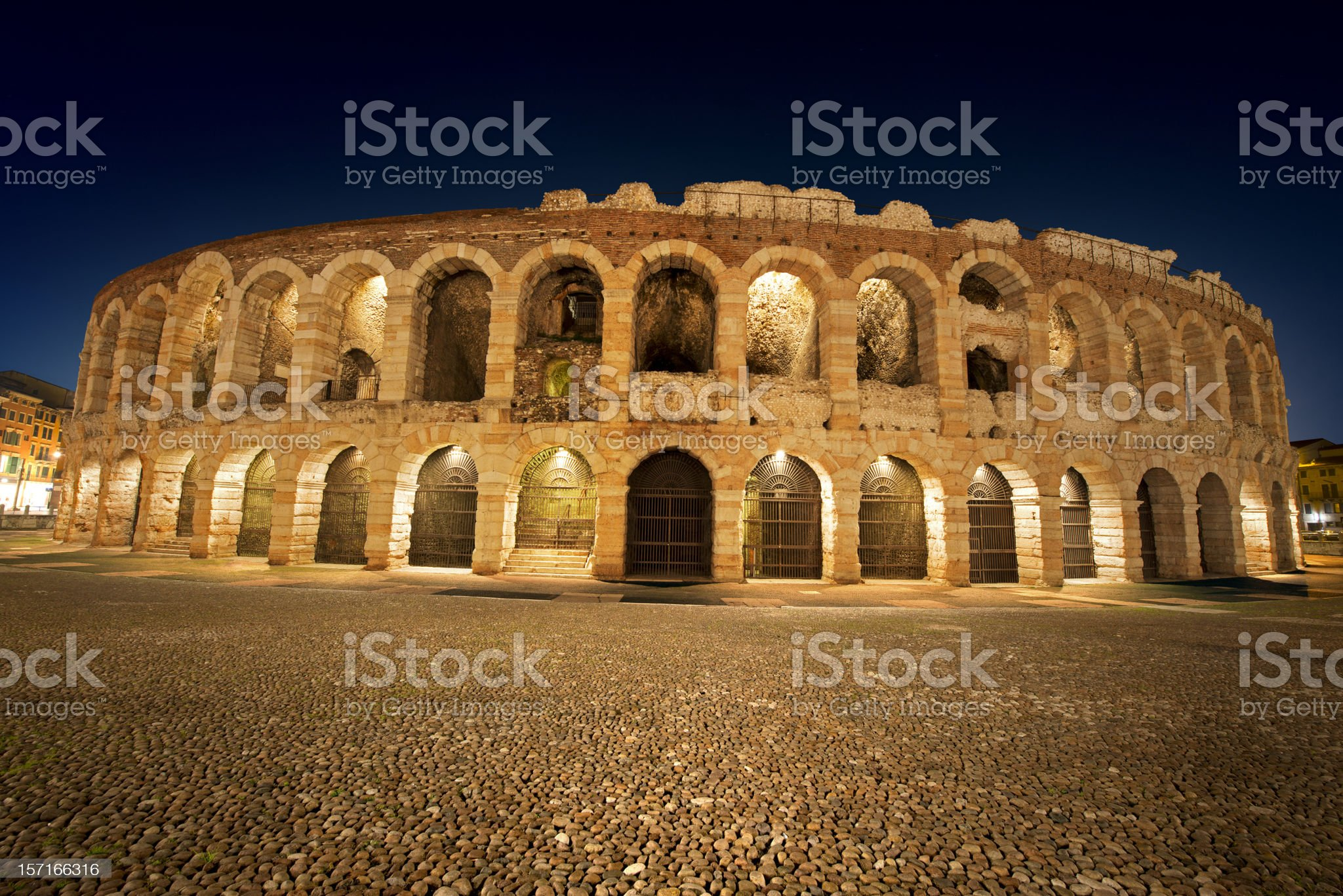 Arena di Verona by night in Italy royalty-free stock photo
