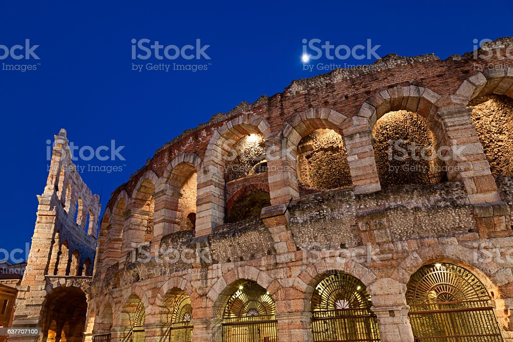 Arena of Verona at blue hour stock photo