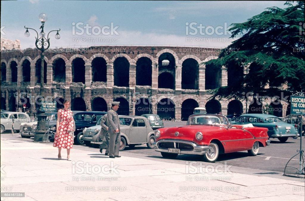 Arena of Verona, italy, 1958 stock photo