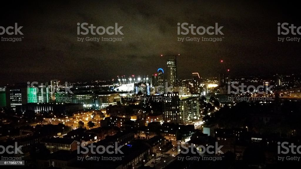 O2 Arena on a cloudy night stock photo