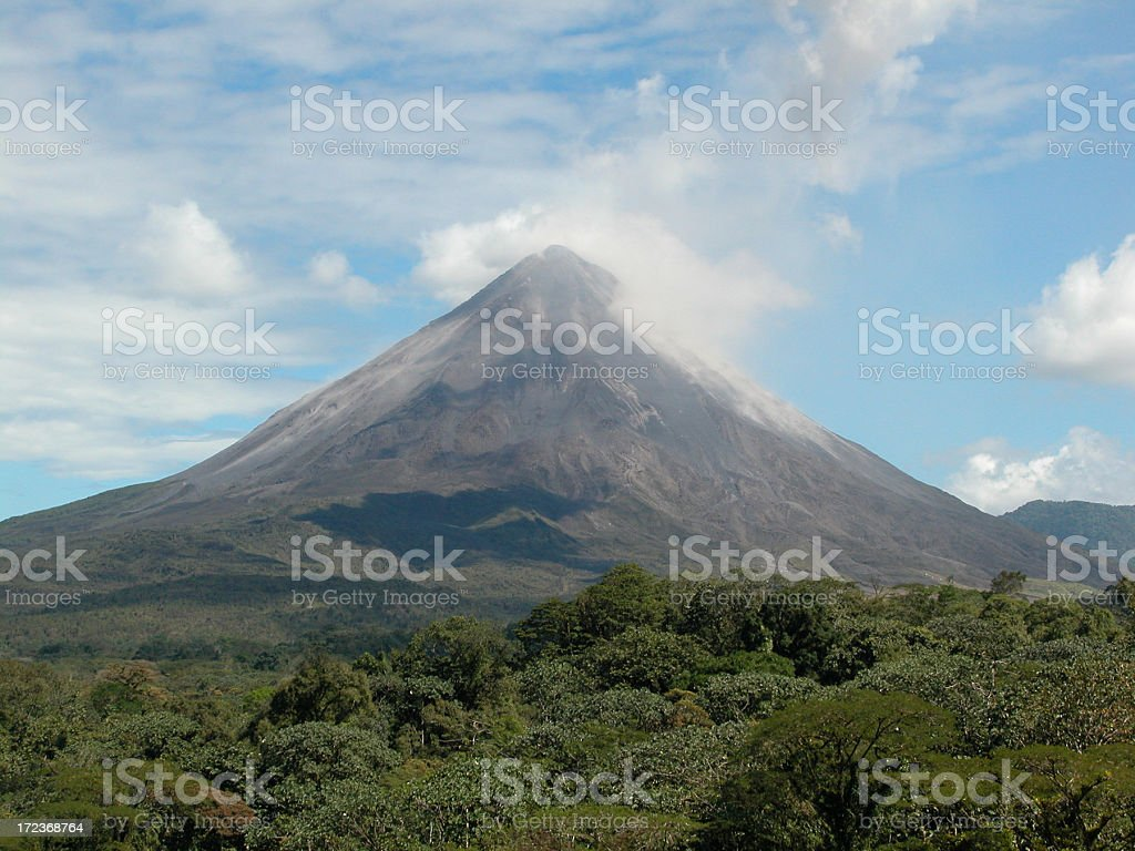 Arenal Volcano and Arenal Volcano National Park, Costa Rica stock photo