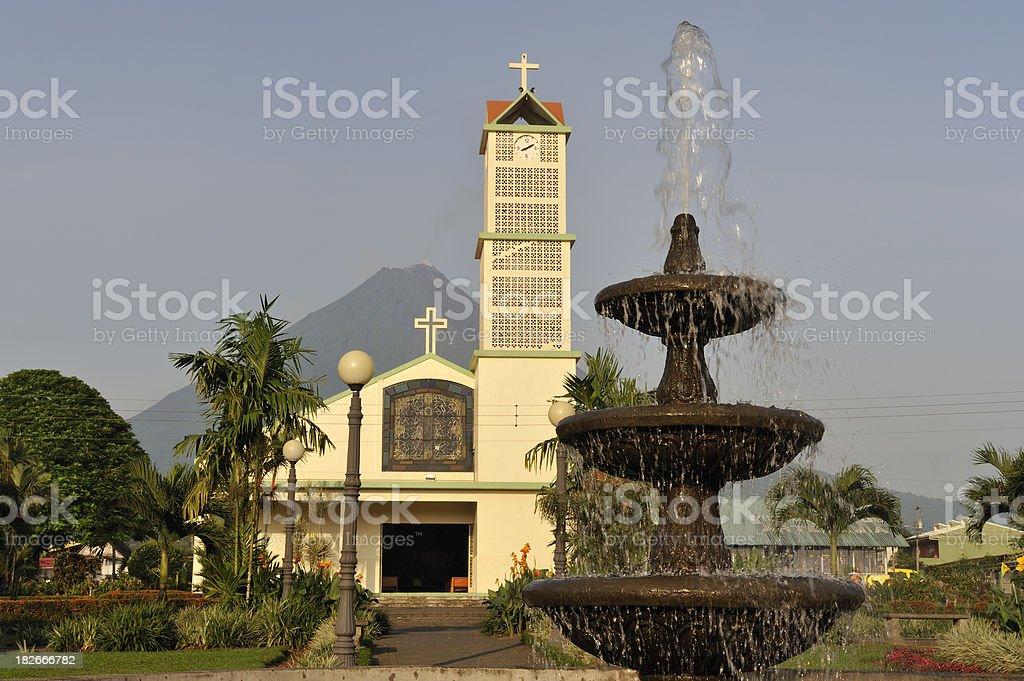 Arenal Volcano, church and fountain, La Fortuna Costa Rica stock photo