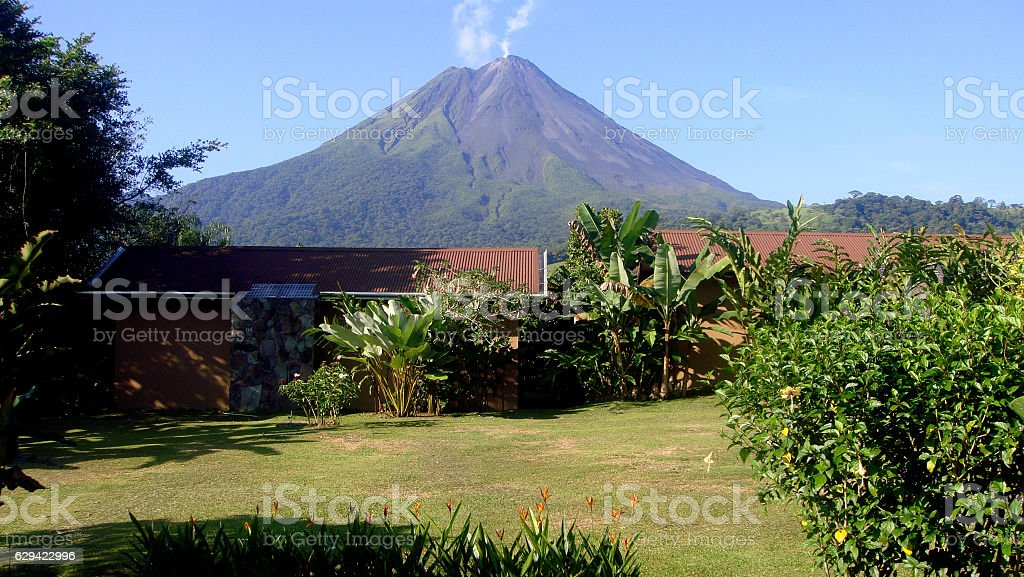Arenal volcano erupting stock photo
