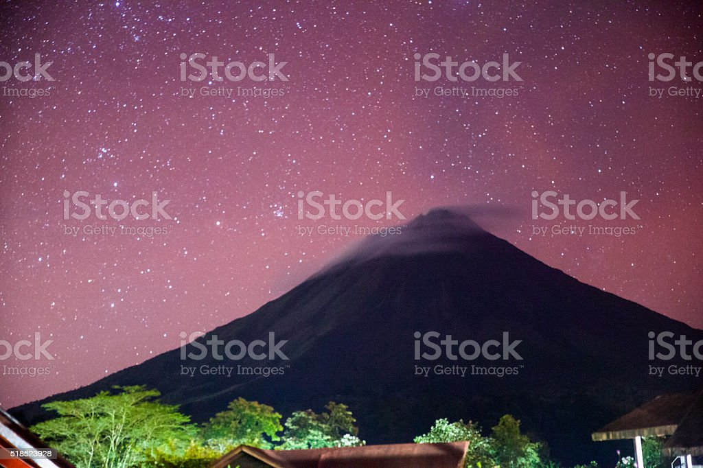 Arenal Volcano in the Stars stock photo