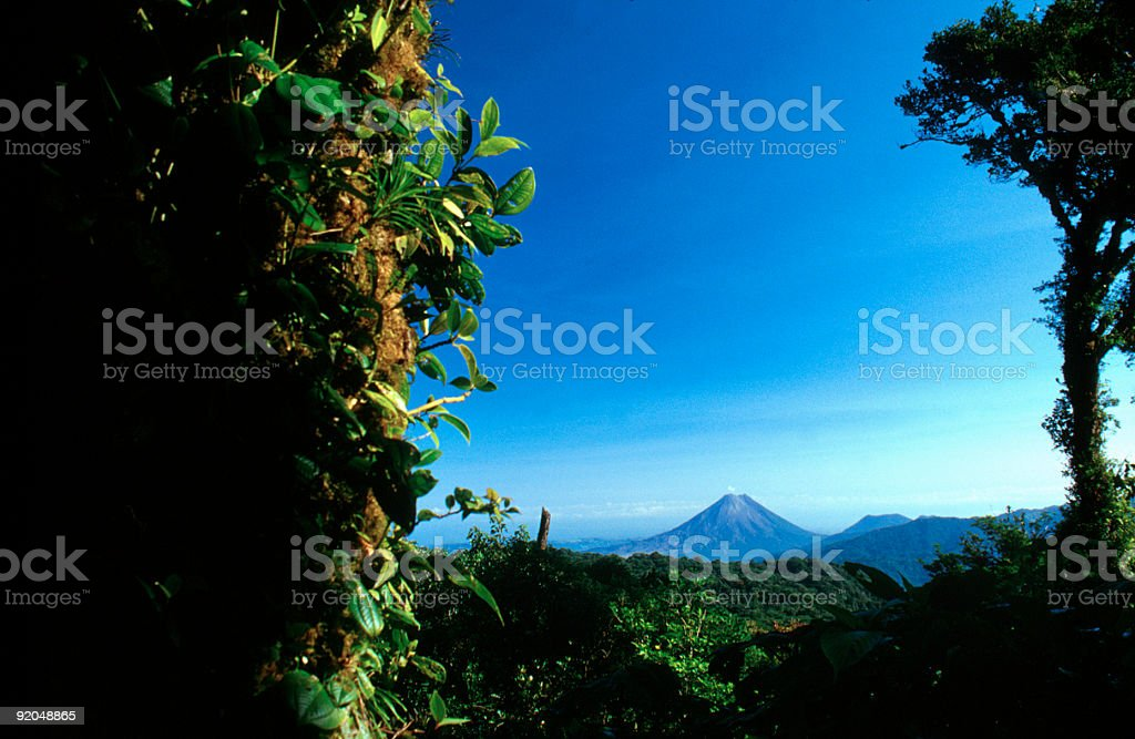 Arenal Volcano seen from cloud forest stock photo