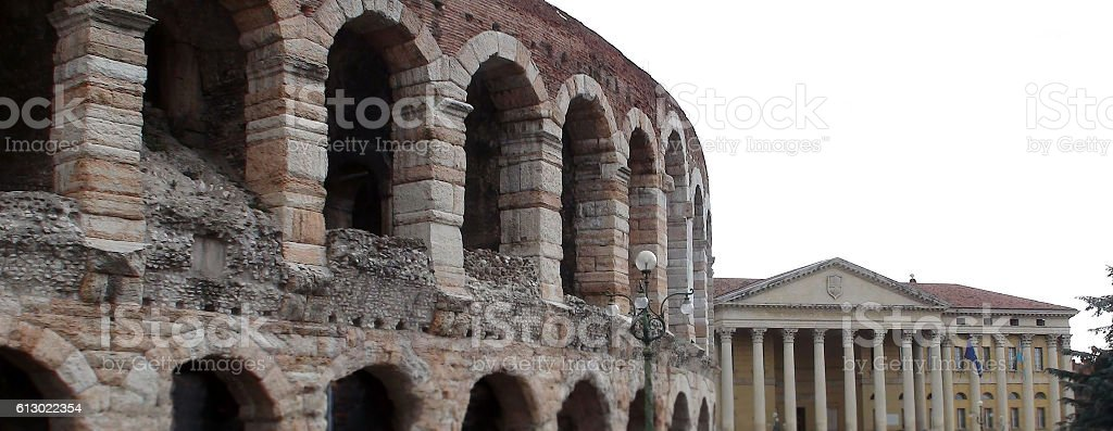 Arena,Palazzo Barbieri Building Exterior At Piazza Bra Verona Italy.Europe stock photo