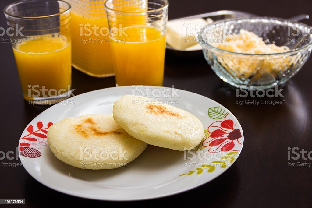 Arepas - a classic Breakfast in Latin America stock photo