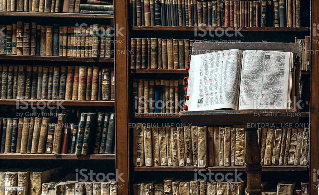 Arequipa, Peru - Books are subject to restoration stock photo