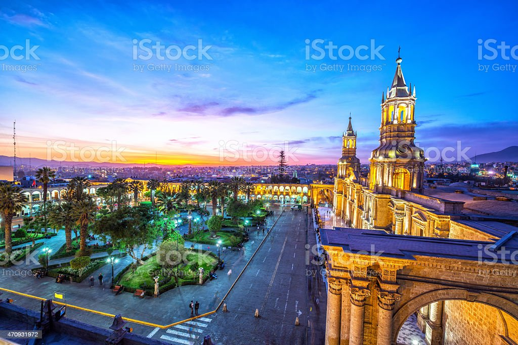 Arequipa Plaza at Night stock photo