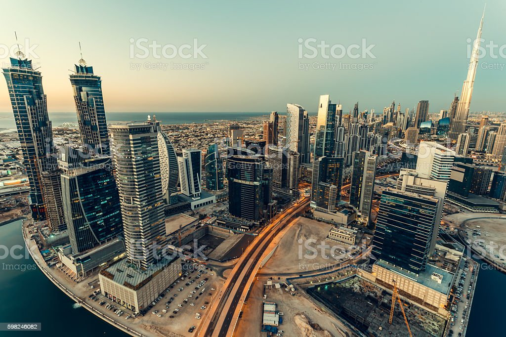 Arerial vew of downtown Dubai, UAE, skyscrapers at sunset. stock photo