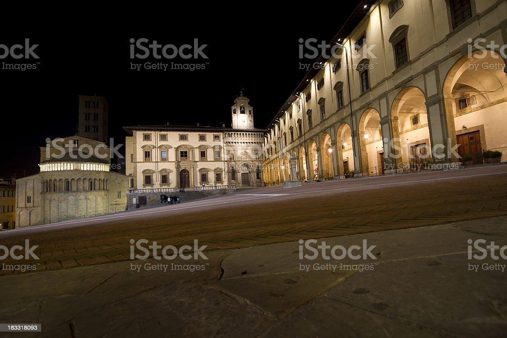 Arezzo by night , Piazza Grande (Tuscany,Italy) royalty-free stock photo