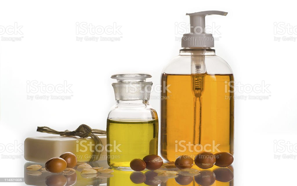 Argan oil and cosmetic product royalty-free stock photo