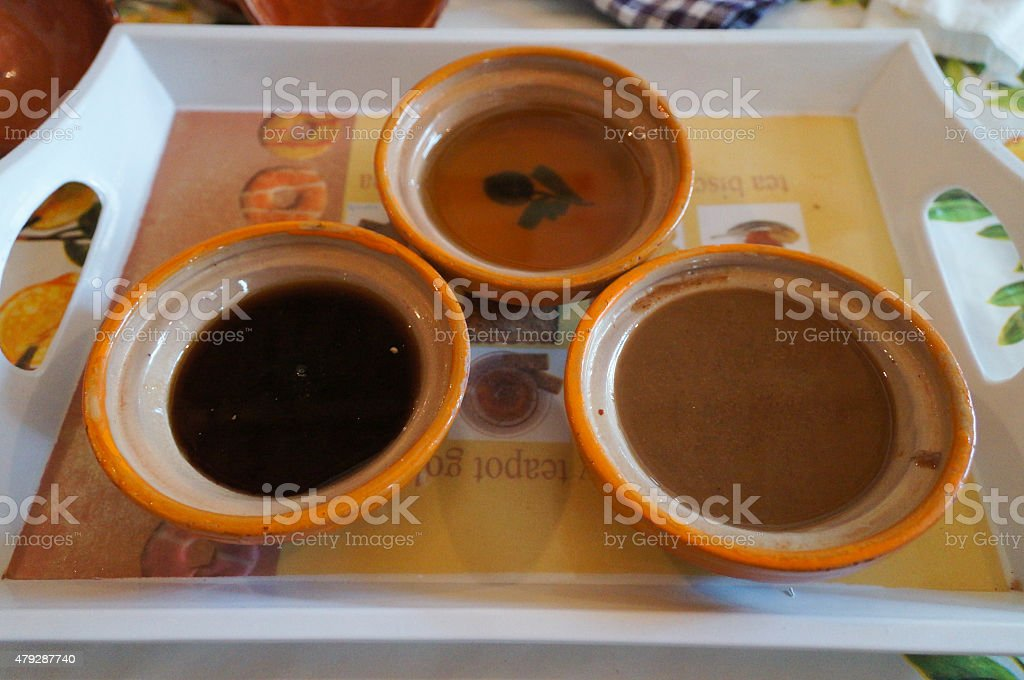 Argan oil for eating with bread stock photo