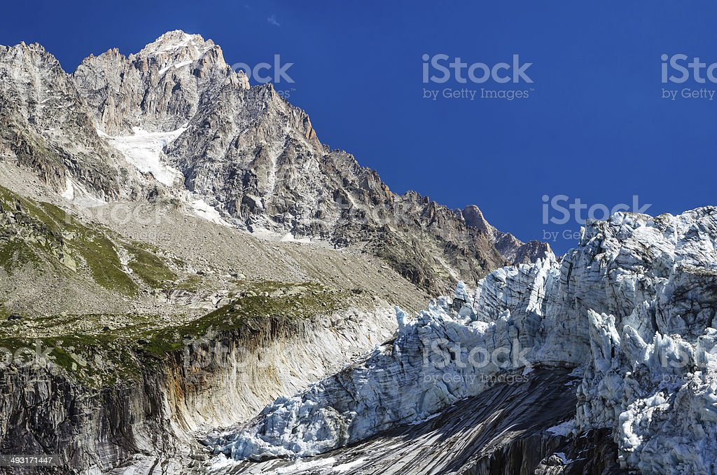 Argentiere Glacier in Mont Blanc, France stock photo