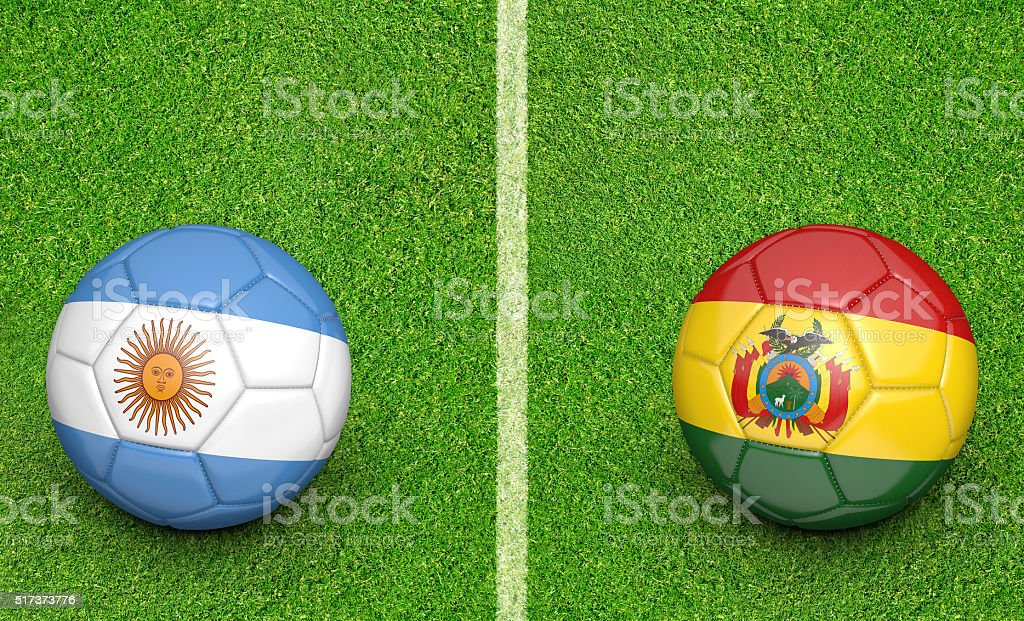 Argentina and Bolivia team balls for a football preliminary game stock photo
