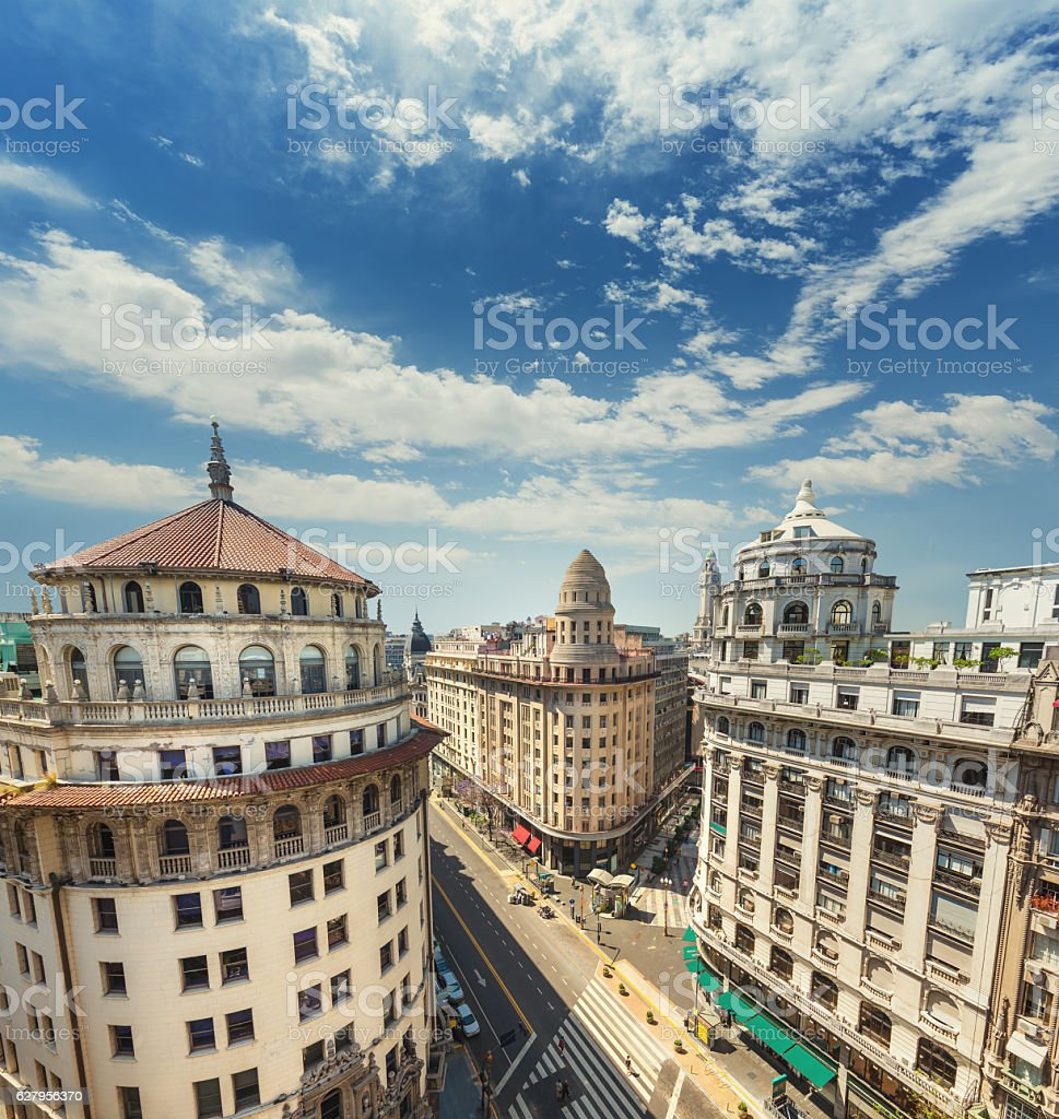 Argentina Buenos Aires downtown buildings from above stock photo