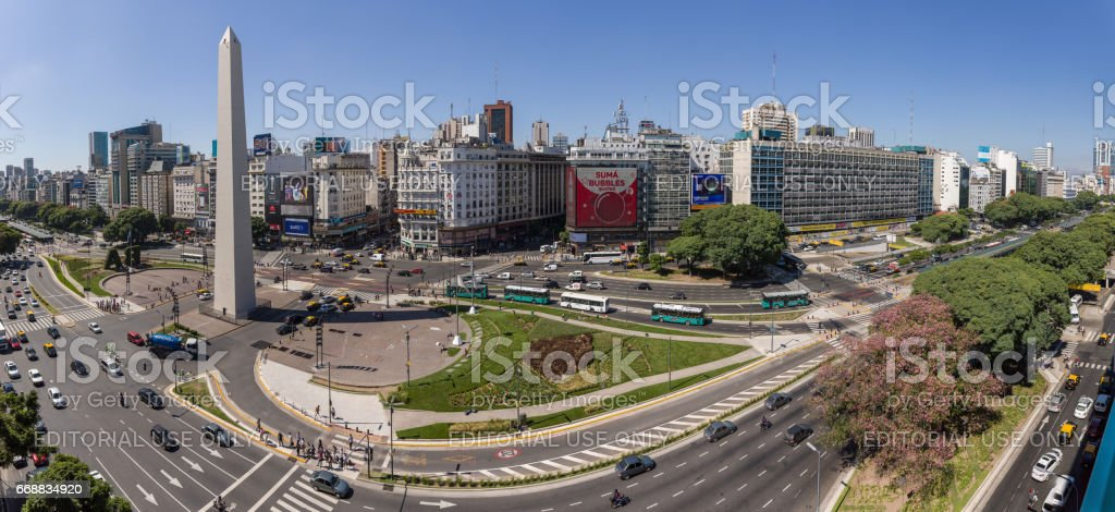Argentina Buenos Aires downtown center with obelisco panorama stock photo