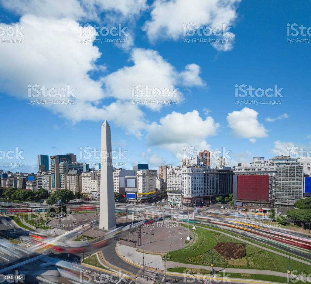 Argentina Buenos Aires downtown with obelisco and traffic stock photo