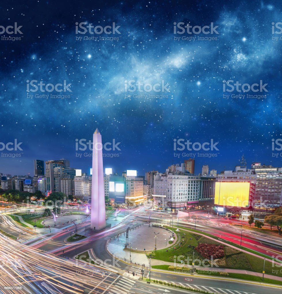 Argentina Buenos Aires downtown with obelisco at night stock photo