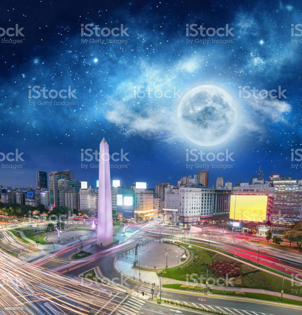 Argentina Buenos Aires night high traffic under the moon stock photo