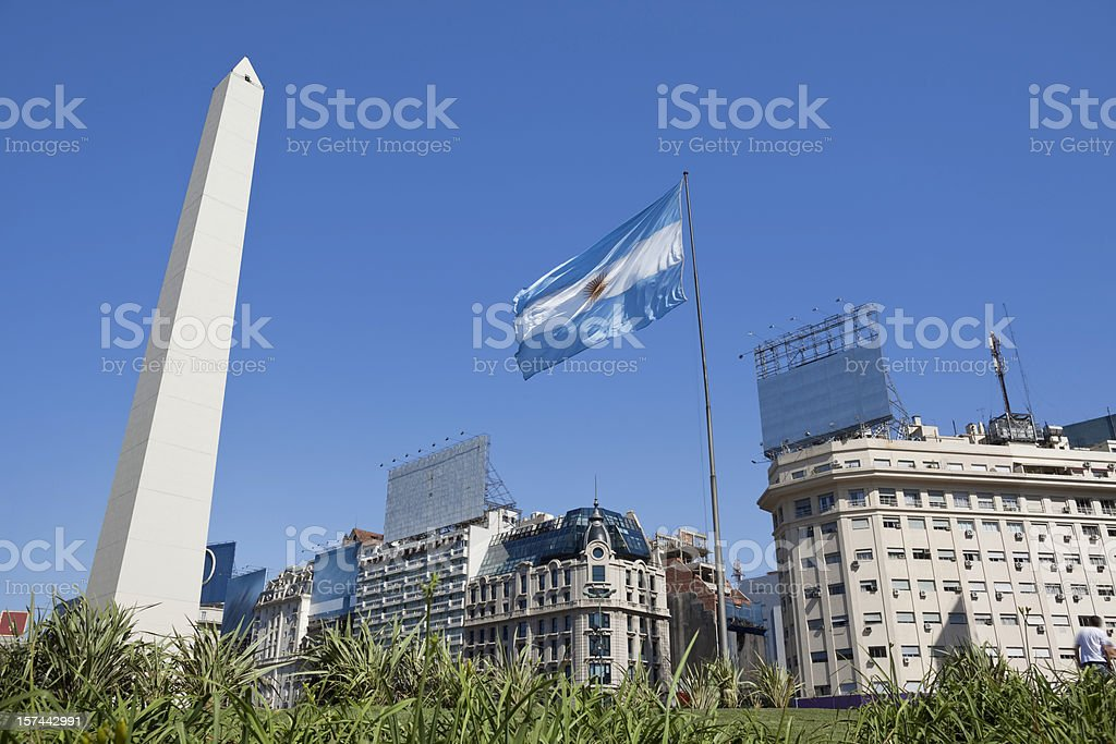 Argentina Buenos Aires obelisco with argentine flag stock photo
