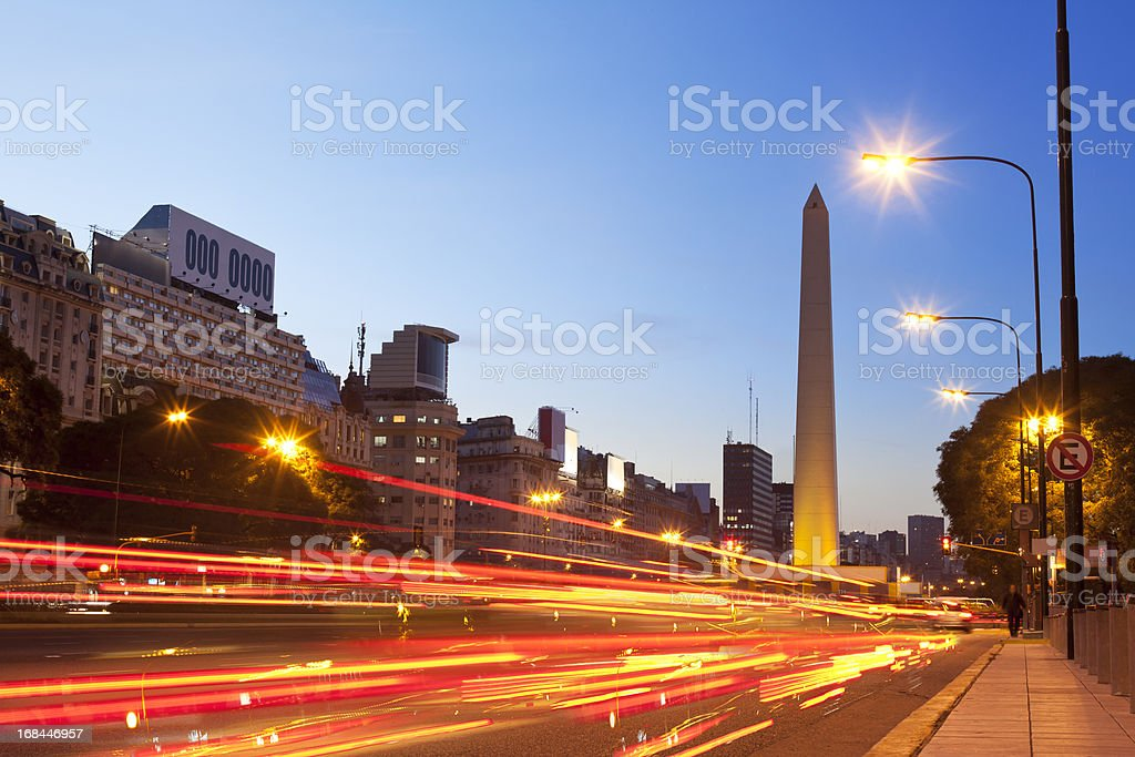 Argentina Buenos Aires obelisco with traffic at night royalty-free stock photo