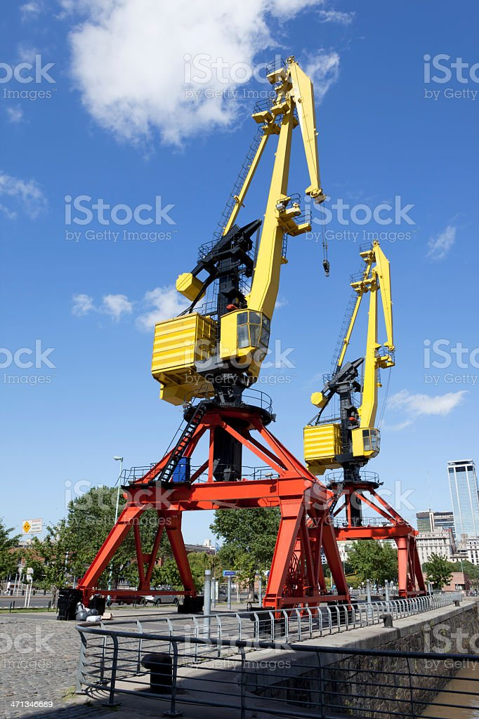 Argentina Buenos Aires old cranes in Puerto Madero stock photo