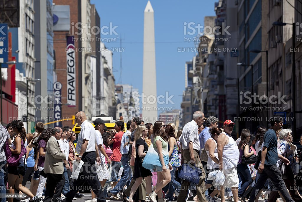 Argentina Buenos Aires people crossing Av.Corrientes stock photo