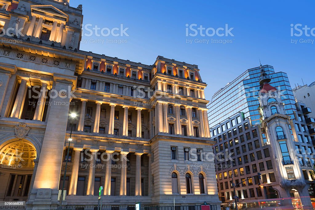 Argentina Buenos Aires Plaza Lavalle with Palace of Justice stock photo