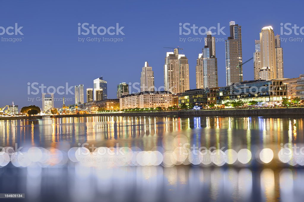 Argentina Buenos Aires Puerto Madero at night stock photo