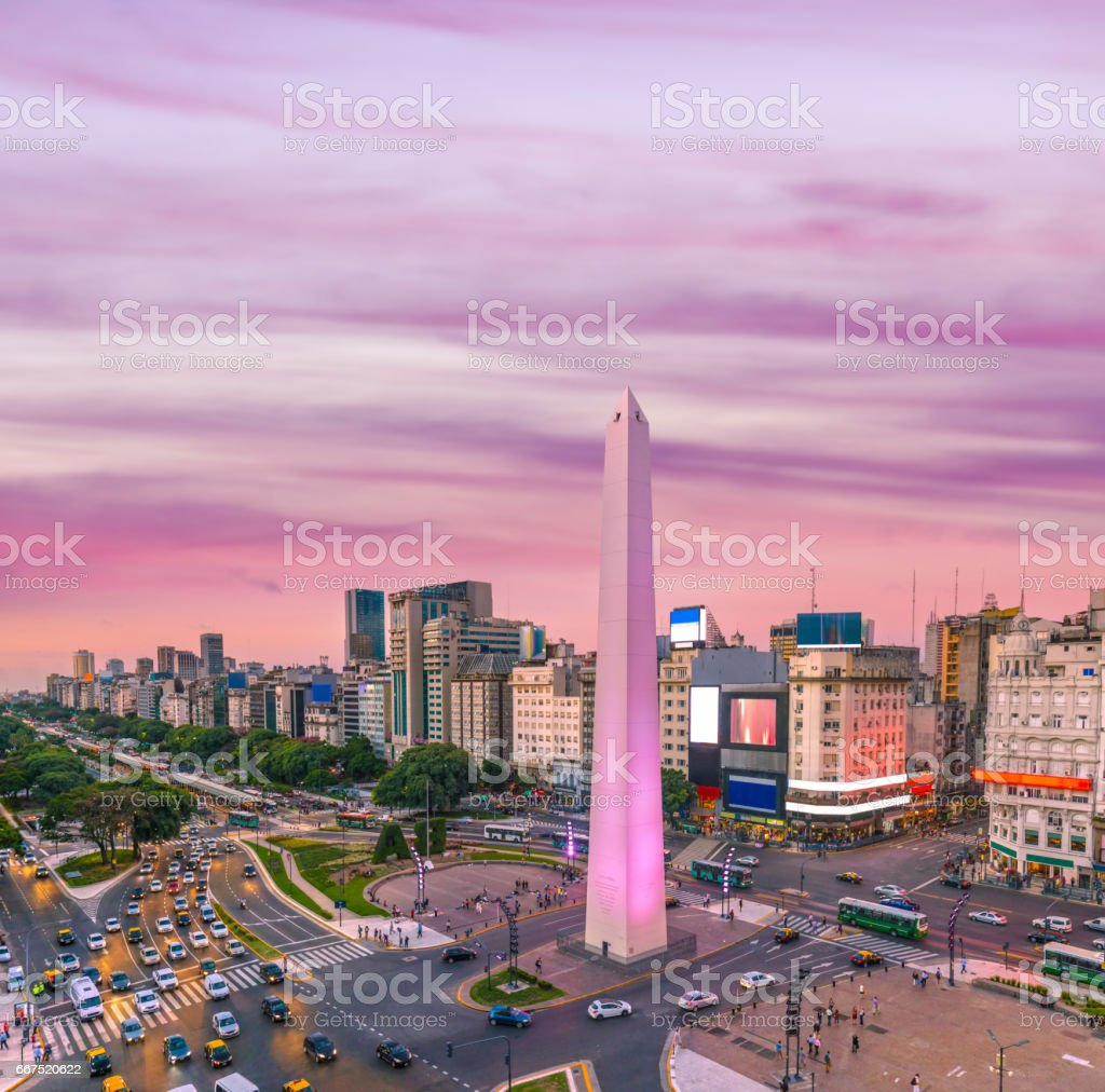 Argentina Buenos Aires rush hour at dawn stock photo