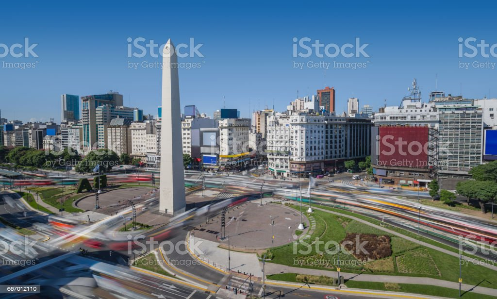 Argentina Buenos Aires rush hour center with obelisco stock photo