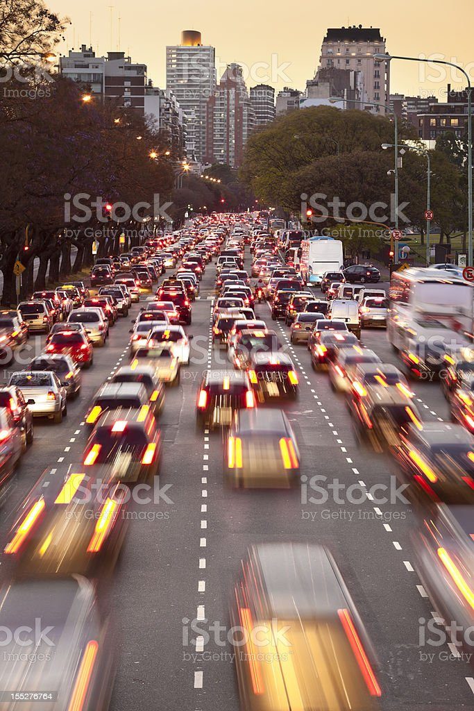 Argentina Buenos Aires rush hour with traffic at night stock photo