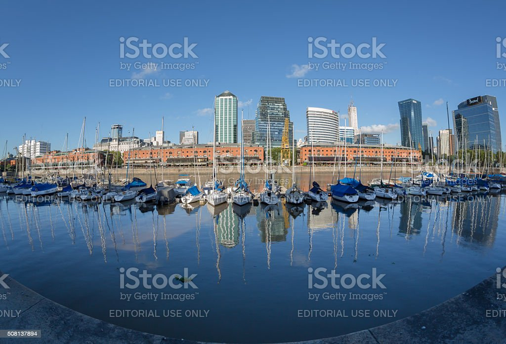 Argentina Buenos Aires skyline Puerto Madero with ships stock photo