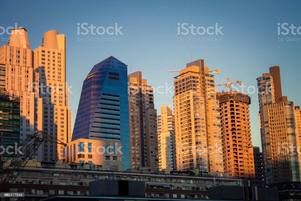 Argentina, Buenos Aires, South America - Beautiful late afternoon in Puerto Madero with buildings in the background. stock photo