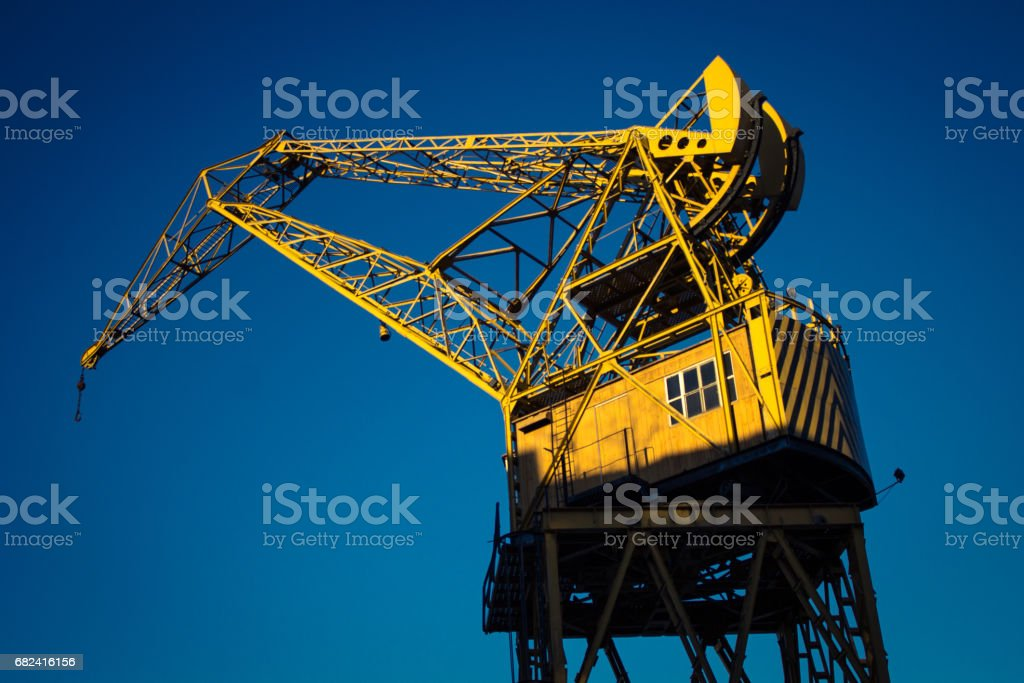 Argentina, Buenos Aires, South America - Container crane in Puerto Madero. stock photo