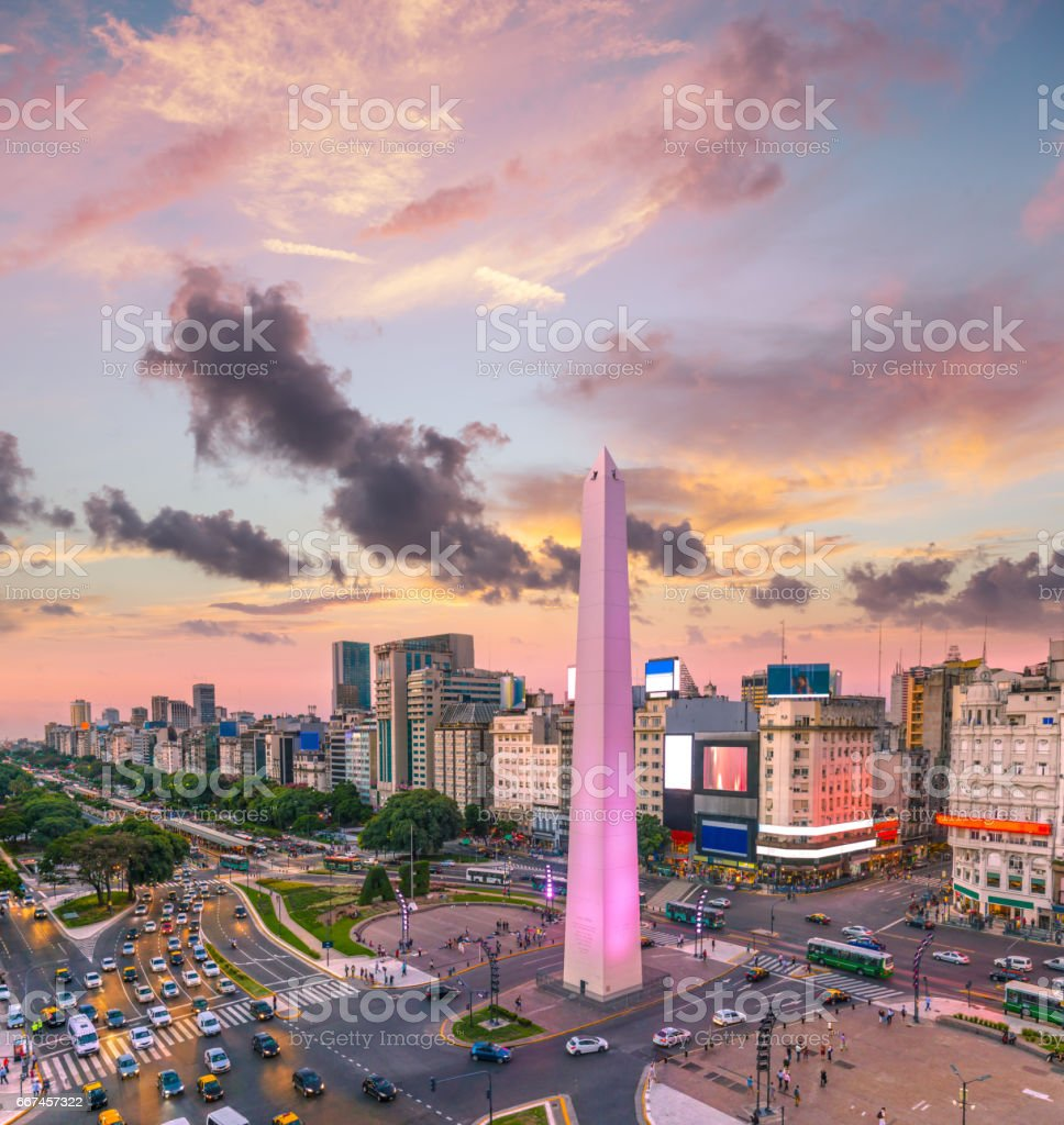 Argentina Buenos Aires traffic at rush hour sunset stock photo