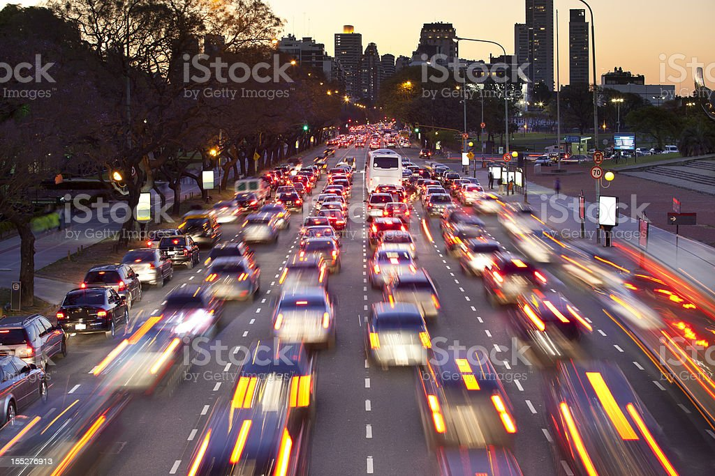 Argentina Buenos Aires with traffic at night royalty-free stock photo