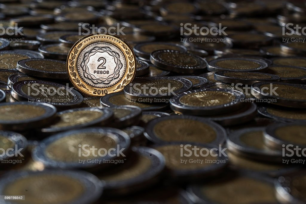 argentine coin stock photo