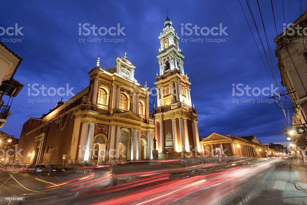 Argentina dawn over Church of San Francisco in Salta stock photo