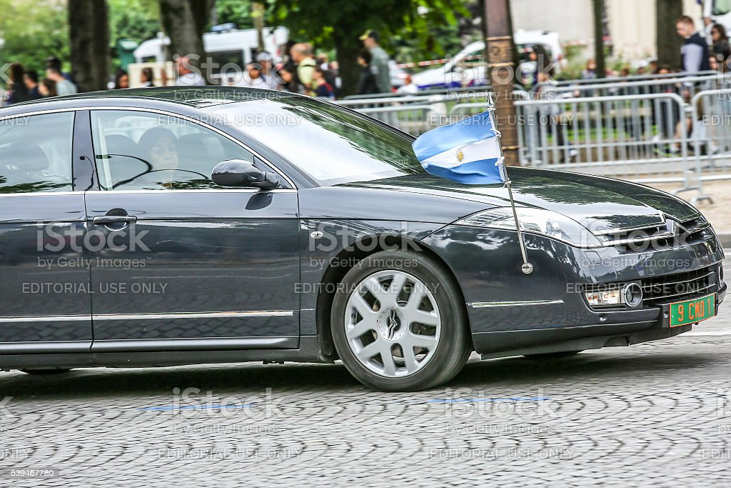 Argentina Diplomatic car during Military parade stock photo